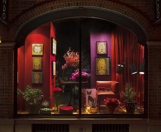 Flower shop window at night